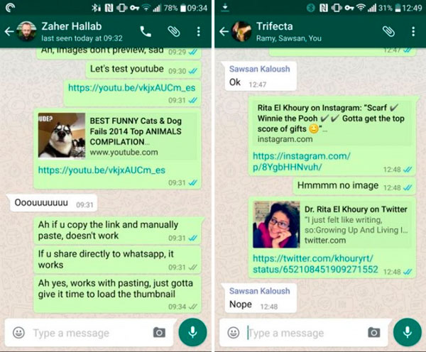 WhatsApp enlaces previsualización